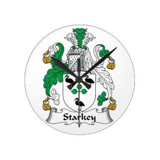 Escudo de la familia de Starkey Reloj De Pared