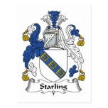 Escudo de la familia de Starling Tarjeta Postal