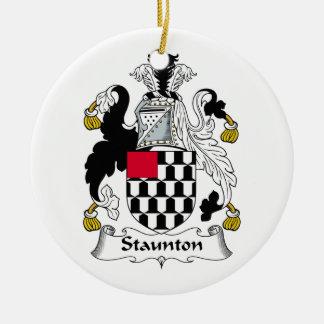 Escudo de la familia de Staunton Adorno Navideño Redondo De Cerámica