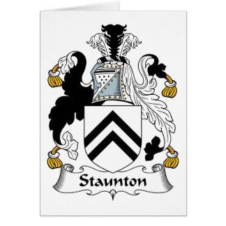 Escudo de la familia de Staunton Felicitacion