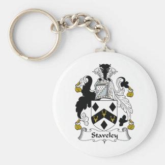 Escudo de la familia de Staveley Llavero Redondo Tipo Pin