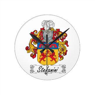 Escudo de la familia de Stefanini Reloj De Pared