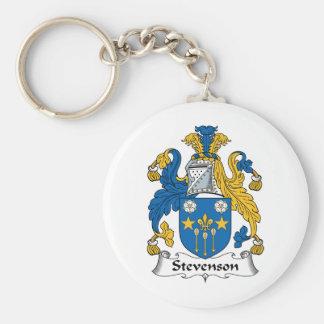 Escudo de la familia de Stevenson Llavero Redondo Tipo Pin