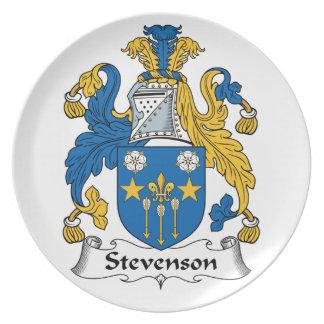 Escudo de la familia de Stevenson Platos Para Fiestas