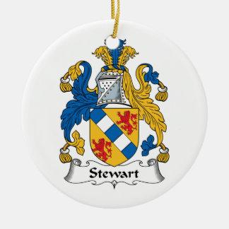 Escudo de la familia de Stewart Adorno Navideño Redondo De Cerámica