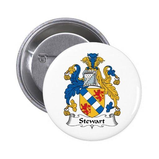 Escudo de la familia de Stewart Pin Redondo De 2 Pulgadas