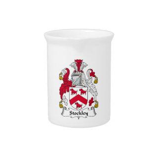 Escudo de la familia de Stockley Jarra Para Bebida