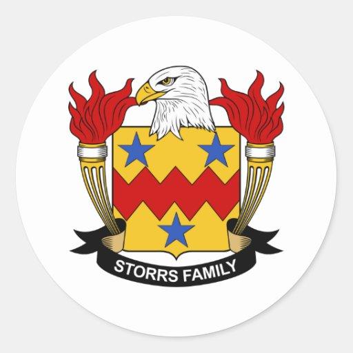 Escudo de la familia de Storrs Pegatina Redonda