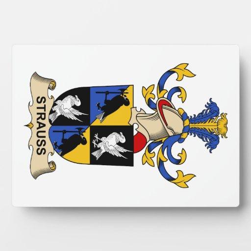 Escudo de la familia de Strauss Placas Para Mostrar