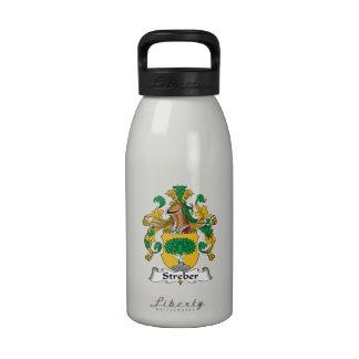 Escudo de la familia de Streber Botellas De Agua Reutilizables