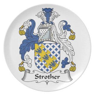 Escudo de la familia de Strother Plato Para Fiesta