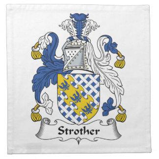 Escudo de la familia de Strother Servilleta