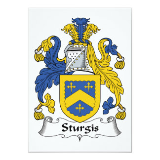 Escudo de la familia de Sturgis Invitación 12,7 X 17,8 Cm