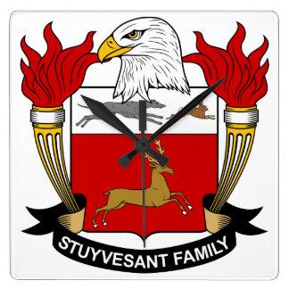 Escudo de la familia de Stuyvesant Reloj Cuadrado