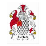 Escudo de la familia de Surtees Tarjeta Postal