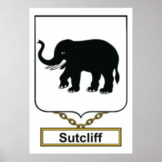 Escudo de la familia de Sutcliff Póster