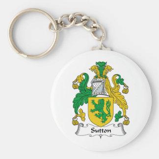 Escudo de la familia de Sutton Llavero Redondo Tipo Pin
