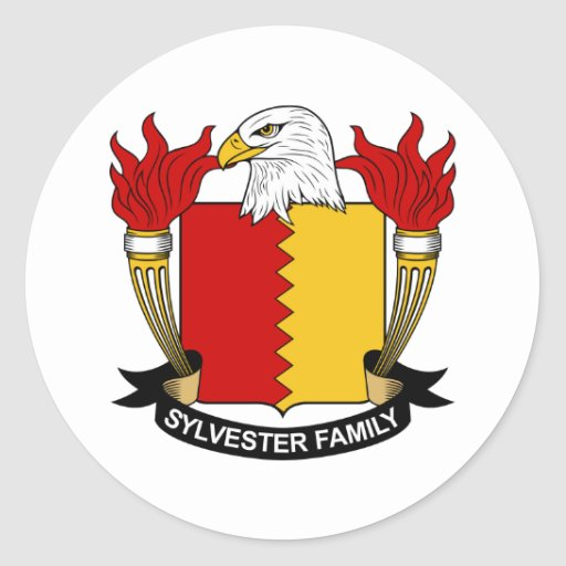 Escudo de la familia de Sylvester Pegatina Redonda