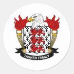 Escudo de la familia de Tasker Etiqueta Redonda