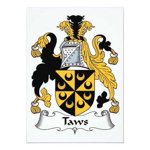 Escudo de la familia de Taws Invitación 12,7 X 17,8 Cm