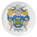 Escudo de la familia de Teixeira Plato Para Fiesta