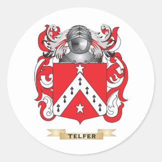 Escudo de la familia de Telfer (escudo de armas) Pegatina Redonda