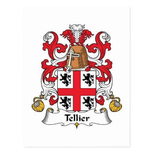 Escudo de la familia de Tellier Tarjeta Postal