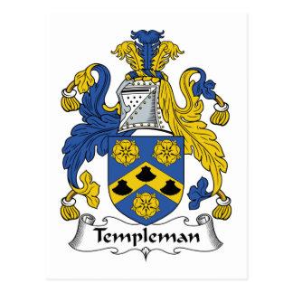 Escudo de la familia de Templeman Tarjeta Postal