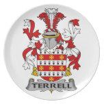 Escudo de la familia de Terrell Plato Para Fiesta