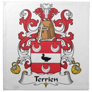 Escudo de la familia de Terrien Servilletas