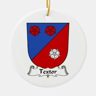Escudo de la familia de Textor Adorno Navideño Redondo De Cerámica