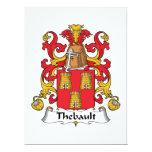 Escudo de la familia de Thebault Invitación 16,5 X 22,2 Cm