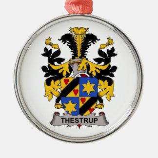 Escudo de la familia de Thestrup Adorno Redondo Plateado