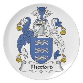 Escudo de la familia de Thetford Platos De Comidas