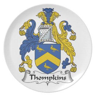 Escudo de la familia de Thompkins Plato De Comida