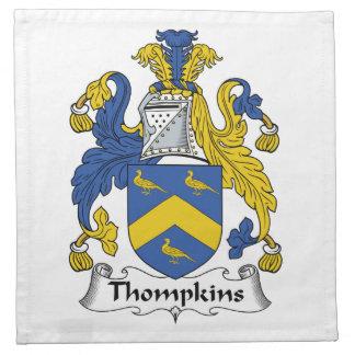 Escudo de la familia de Thompkins Servilleta Imprimida