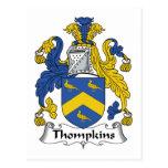 Escudo de la familia de Thompkins Tarjeta Postal