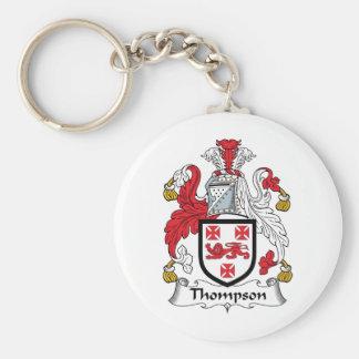 Escudo de la familia de Thompson Llavero Redondo Tipo Pin