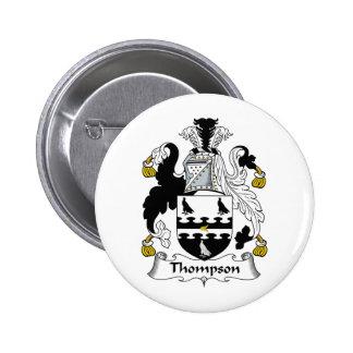 Escudo de la familia de Thompson Pin Redondo De 2 Pulgadas