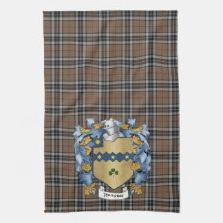 Escudo de la familia de Thompson y tartán de la ca Toalla De Cocina
