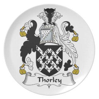 Escudo de la familia de Thorley Plato De Comida