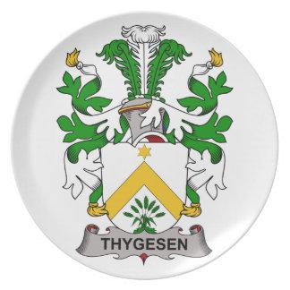 Escudo de la familia de Thygesen Platos Para Fiestas