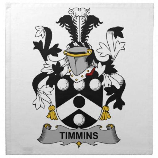 Escudo de la familia de Timmins Servilletas Imprimidas