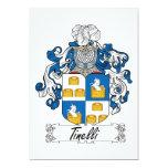 Escudo de la familia de Tinelli Invitación 12,7 X 17,8 Cm