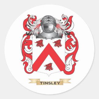Escudo de la familia de Tinsley (escudo de armas) Pegatina Redonda
