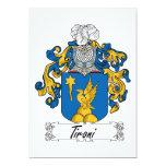 Escudo de la familia de Tironi Invitación 12,7 X 17,8 Cm