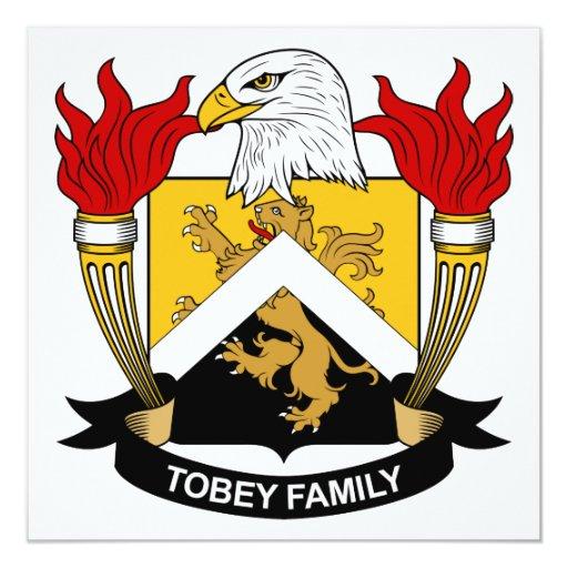 """Escudo de la familia de Tobey Invitación 5.25"""" X 5.25"""""""