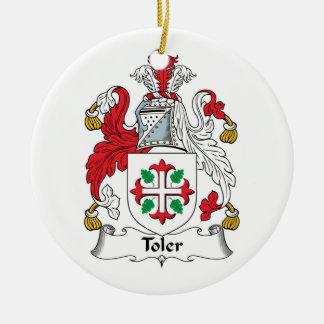 Escudo de la familia de Toler Adorno Navideño Redondo De Cerámica