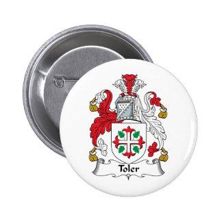 Escudo de la familia de Toler Pin Redondo De 2 Pulgadas