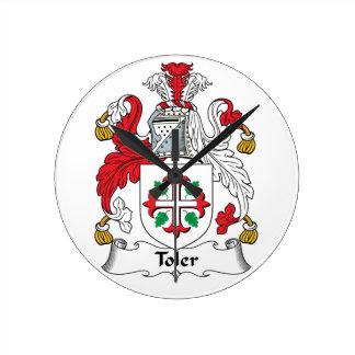 Escudo de la familia de Toler Reloj Redondo Mediano